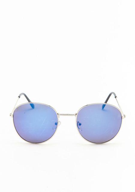 Blue Round Mirrored Sunglasses