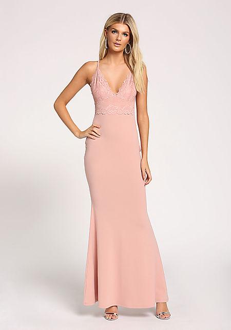 Mauve Lace Mermaid Maxi Gown