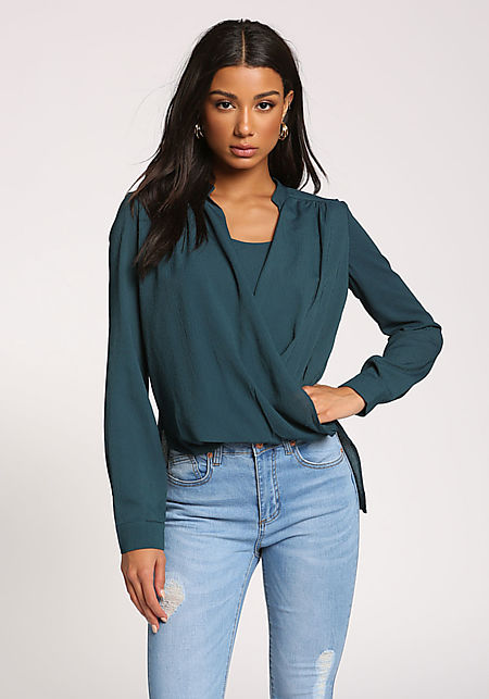 Hunter Green Surplice Layered Hi-Lo Blouse