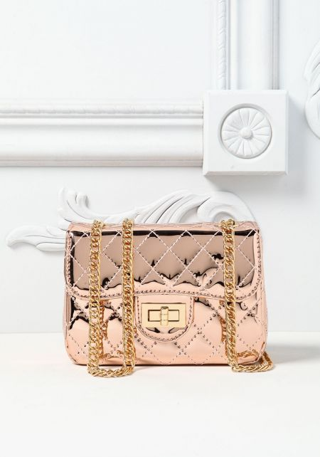 Rose Gold Pantent Quilted Mini Crossbody Bag