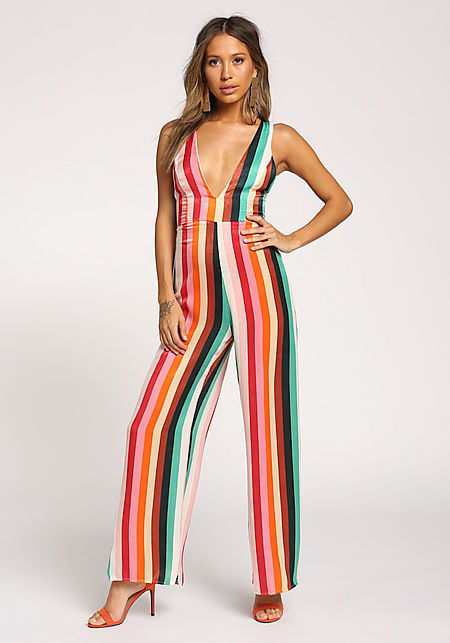 Multi Stripe Silky Plunge Cross Strap Jumpsuit