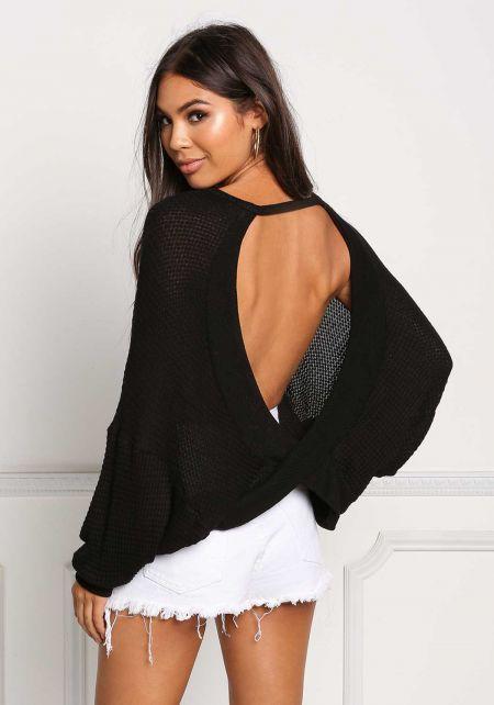 Black Open Back Hi-Lo Knit Top