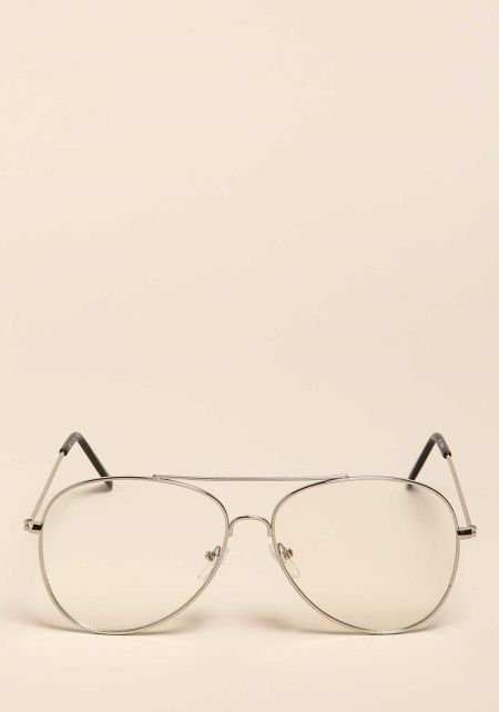 Silver Thin Frame Clear Aviator Glasses