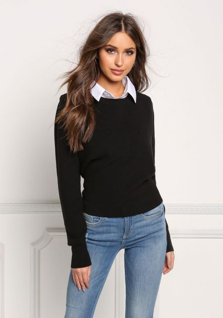 Black Tie Back Two In One Collared Sweater Top