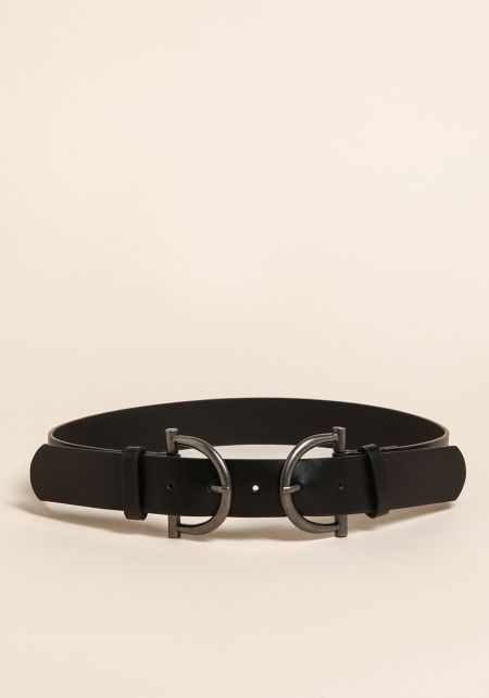 Silver Curved Double Buckle Belt