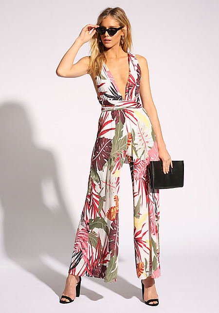 Ivory Tropical Magic Tie Jumpsuit