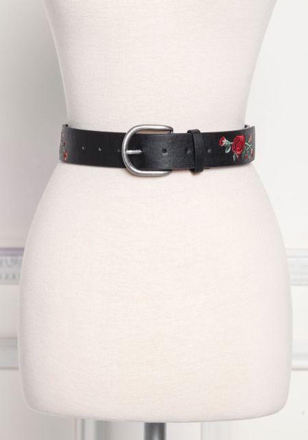 Black Rose Embroidered Leatherette Belt