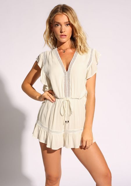 White Crepe Tiered Drawstring Romper
