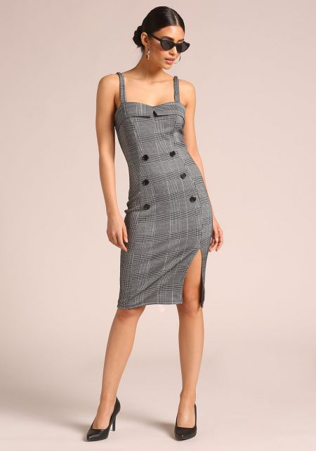 Grey Glen Plaid Double Breasted Bodycon Dress