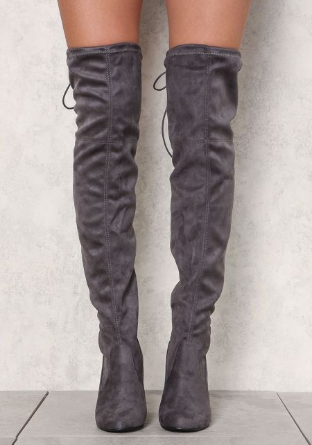 Charcoal Suedette Thigh High Boots