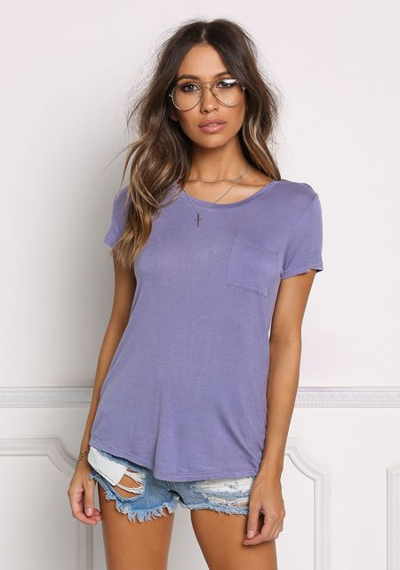 Lavender Basic Pocket Knit Tee