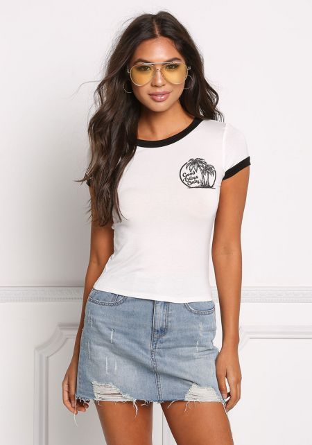 Ivory Good Vibes Only Knit Tee