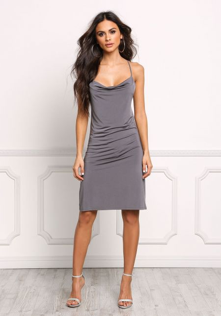 Dark Grey Cross Strap Low Back Bodycon Dress