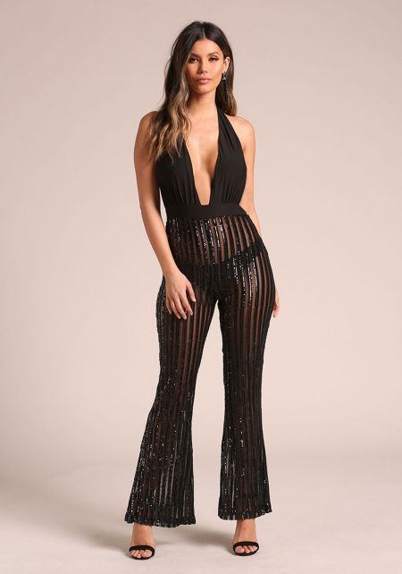 Black Mesh Sequin Plunge Halter Jumpsuit