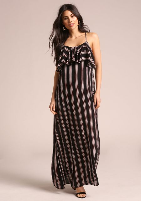 Black Striped Maxi Ruffle Dress