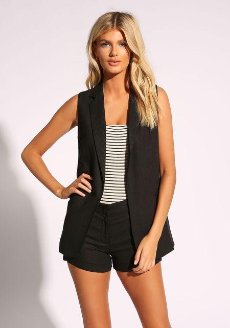 Black Open Front Linen Vest