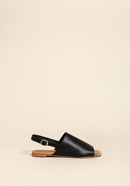 Black Leatherette Slip On Sandals
