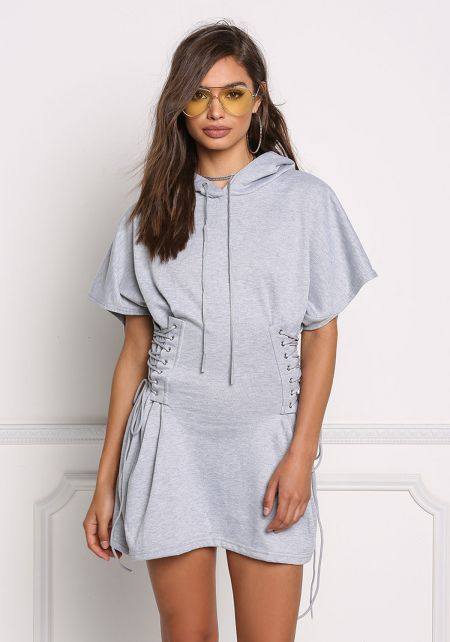 Grey Side Lace Up Corset Hoodie Dress