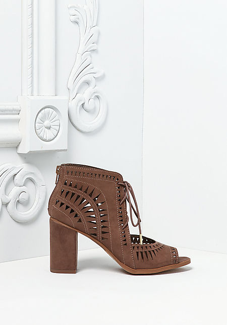 Brown Suedette Laser Cut Lace Up Heels