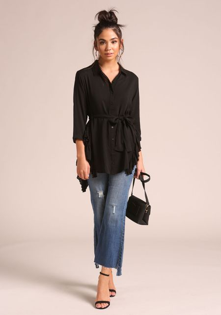 Black Waist Tie Collared Ruffle Blouse
