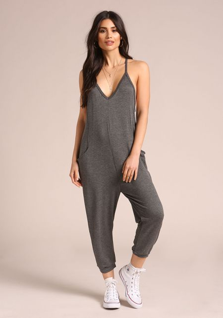 Charcoal Deep V Pocket Harem Jumpsuit