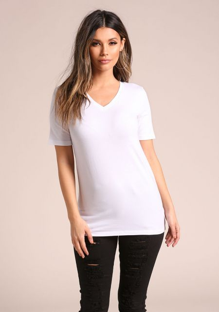 White Basic Jersey Knit V Neck Tee