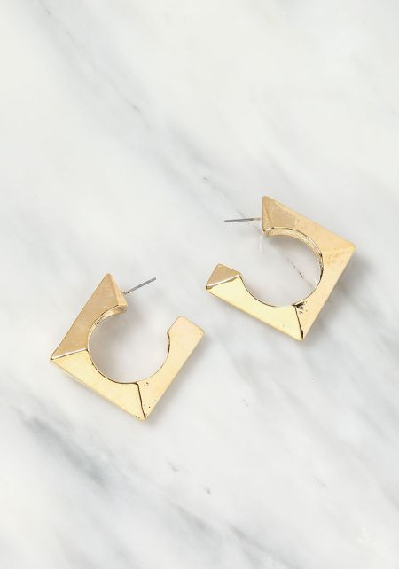 Gold Square Cuff Earrings