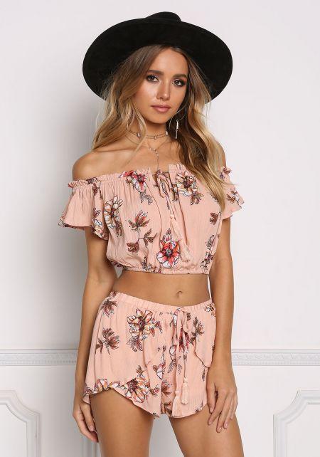 Dusty Pink Floral Crepe Off Shoulder Crop Top