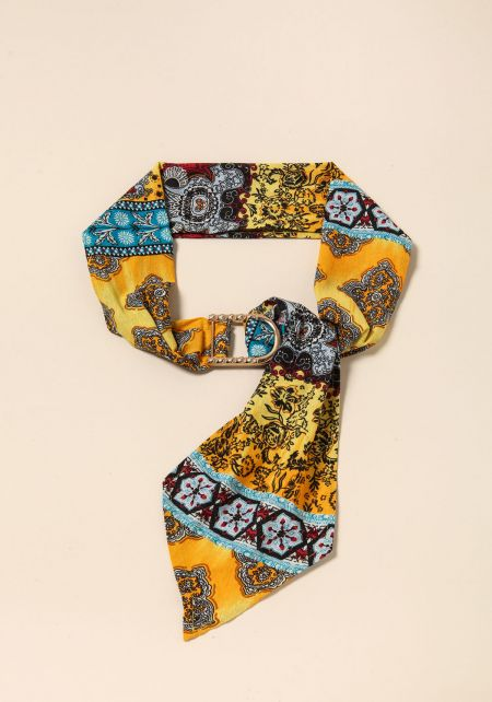 Yellow Multi Print Sash Belt