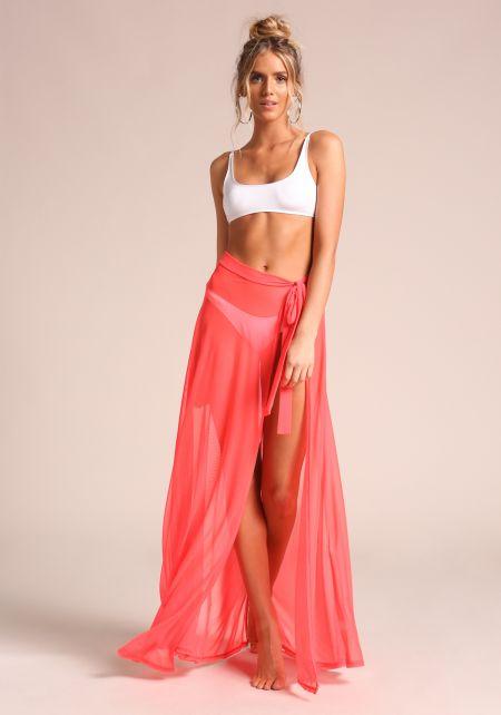 Neon Coral Sarong Cover Up Mesh Maxi Skirt