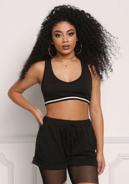 Black One Stripe Sports Bra