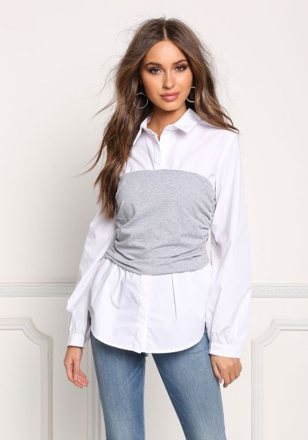 White Collared & Ruched Two Tone Blouse