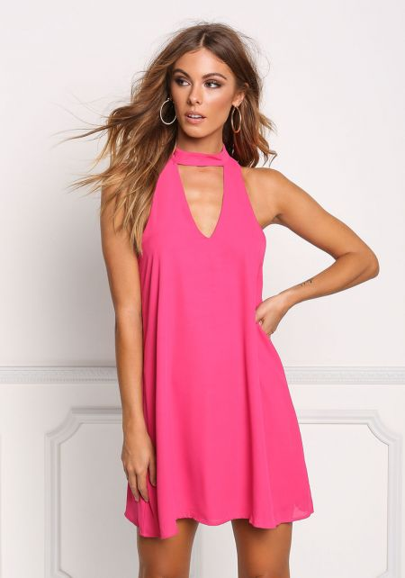 Fuchsia Cut Out Choker Shift Dress