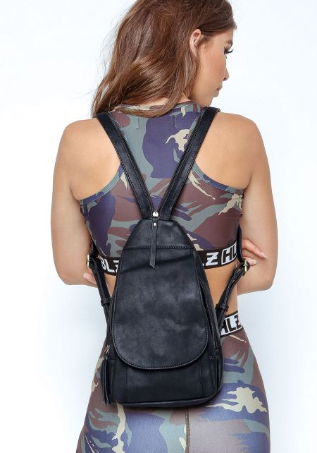 Black Vegan Leatherette Multi Compartment Backpack