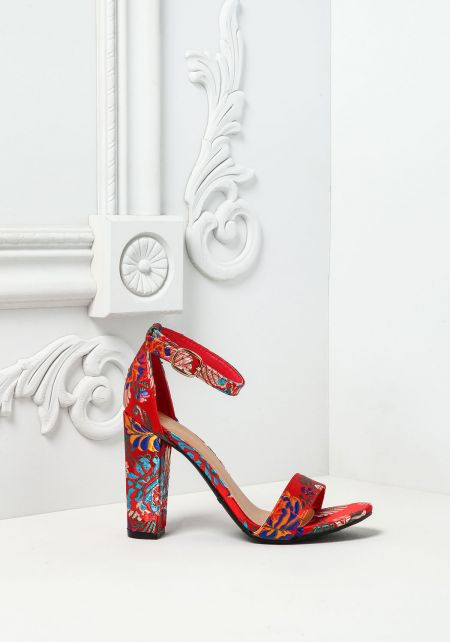 Red Silky Embroidered Ankle Strap Heels