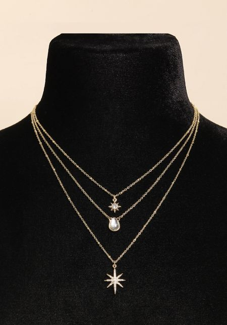 Gold Rhinestone Star Layered Delicate Necklace