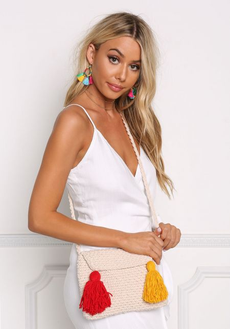 Beige Crochet Tassel Crossbody Bag