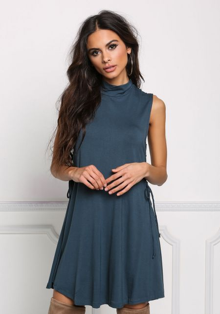 Teal Jersey Knit Side Lace Up Shift Dress