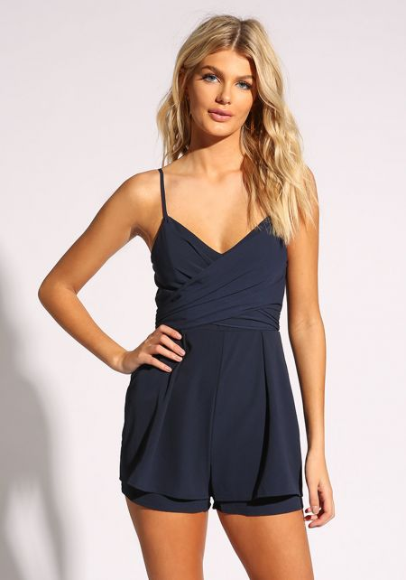 Navy Wrap Around Flared Romper