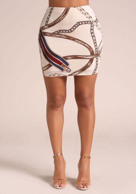 Ivory Chain Print High Rise Skirt