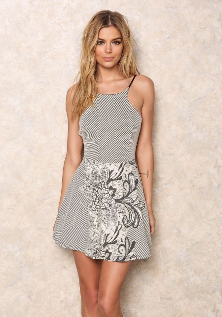 Mod Embroidered Flare Dress