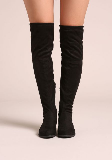 Black Suedette Over The Knee Short Heel Boots