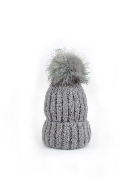 Grey Faux Fur Pom Pom Thick Knit Beanie