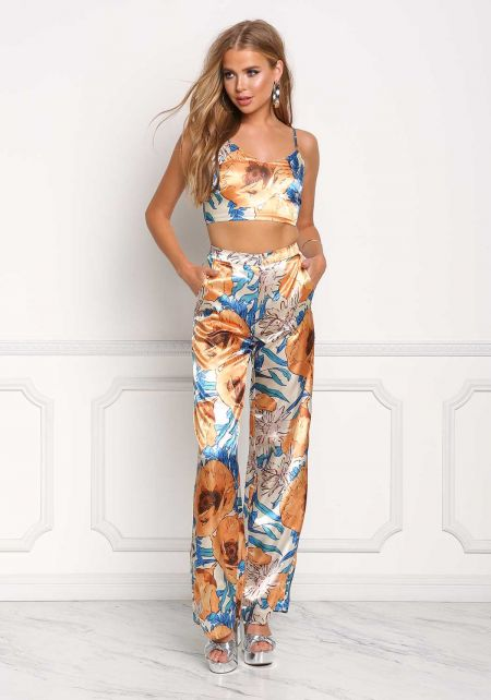 Gold Silky Floral High Rise Pants