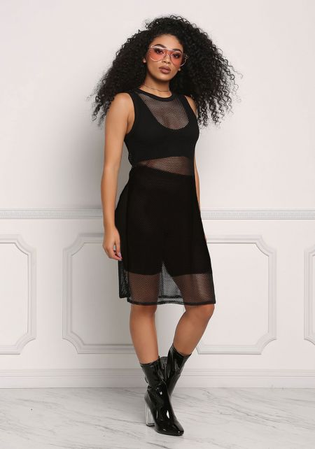 Black High Slit Mesh Net Tank Top