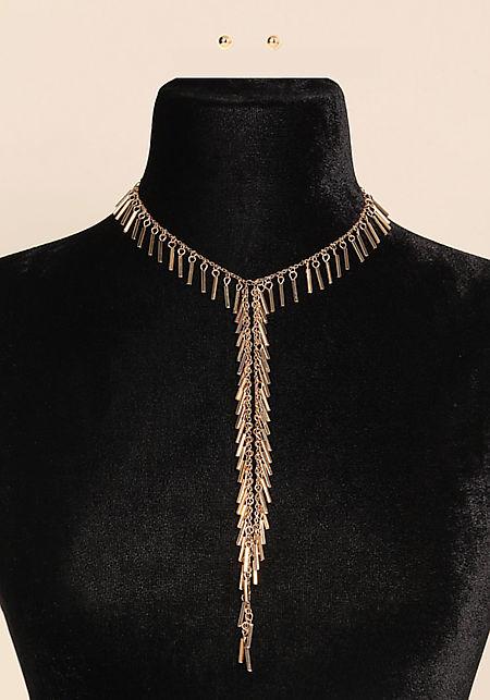 Gold Fringe Drop Necklace