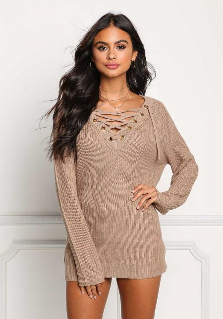 Khaki Thick Knit Lace Up Tunic Sweater Top