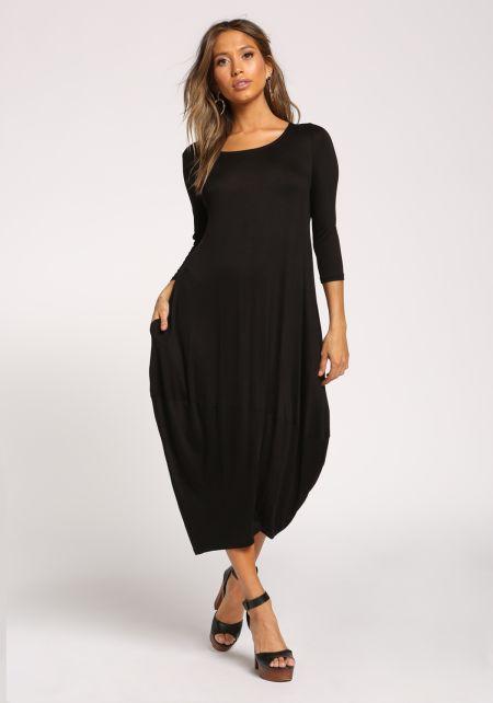 Black Harem Jersey Knit Maxi Dress