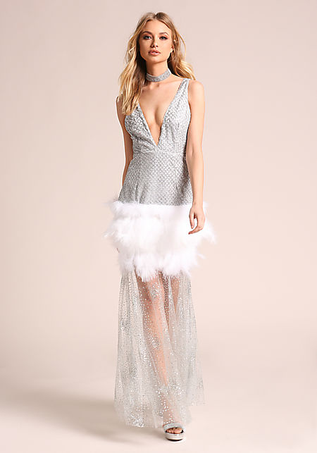 Silver Low V Glitter Tulle Faux Feather Maxi Gown