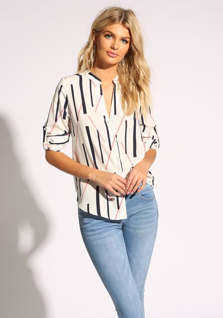 Off White Linear Button Down Blouse